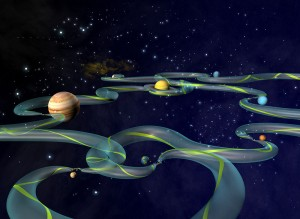 A NASA artist's conception of the Interplanetary Transport Network.