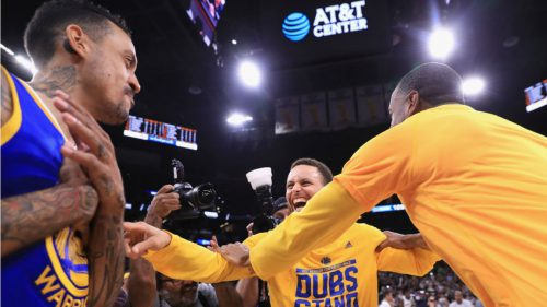Matt Barnes celebrated the Warriors advancing to the NBA Finals by choking himself on the floor of the AT&T Center.