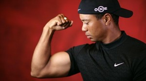 Tiger flexes for the ladies.