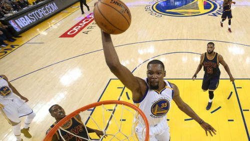 Kevin Durant spent a lot of time last night doing this.