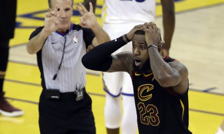 Cleveland Cavaliers forward LeBron James (23) reacts to a call during the second half of Game 1 of basketball's NBA Finals between the Golden State Warriors and the Cavaliers in Oakland, Calif., Thursday, May 31, 2018. (AP Photo/Marcio Jose Sanchez) ORG XMIT: OAS154
